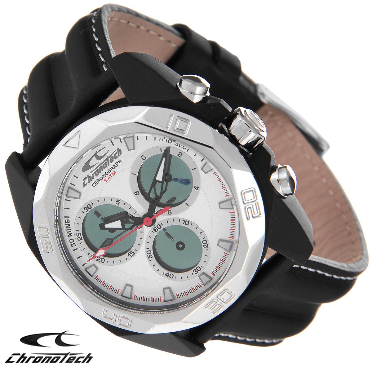 Часы мужские наручные Chronotech, цвет: черный. RW0062BM8434-58AEЧасы Chronotech - это часы для современных и стильных людей, которые стремятся выделиться из толпы и подчеркнуть свою индивидуальность. Корпус часов выполнен из нержавеющей стали с IP-покрытием. Циферблат оформлен отметками и защищен минеральным стеклом. Часы имеют три стрелки - часовую, минутную и секундную. Стрелки и отметки светятся в темноте. Часы оснащены функцией хронографа и имеют секундомер. Ремешок часов выполнен из натуральной кожи с контрастной отстрочкой и застегивается на классическую застежку. Часы упакованы в фирменную коробку с логотипом компании Chronotech. Такой аксессуар добавит вашему образу стиля и подчеркнет безупречный вкус своего владельца.Характеристики: Диаметр циферблата: 3,3 см.Размер корпуса: 4,3 см х 4,8 см х 1,2 см.Длина ремешка (с корпусом): 25 см.Ширина ремешка: 2,1 см.