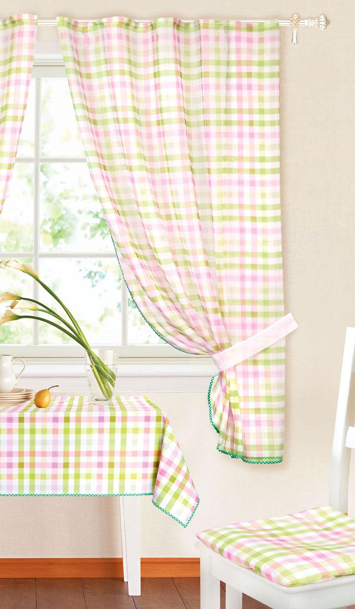 Комплект штор Garden, на ленте, цвет: зеленый, сиреневый, размер 145*180 см. c 8225w191 v8K100Роскошный комплект тюлевых штор Garden, выполненный из вуали (полиэстера_, великолепно украсит любое окно. Комплект состоит из двух штор, декорированных принтов в клетку. Воздушная ткань и приятная, приглушенная гамма привлекут к себе внимание и органично впишутся в интерьер помещения. Этот комплект будет долгое время радовать вас и вашу семью! Шторы крепятся на карниз при помощи ленты, которая поможет красиво и равномерно задрапировать верх. Шторы можно зафиксировать в одном положении с помощью двух подхватов.В комплект входит: Штора: 2 шт. Размер (Ш х В): 145 см х 180 см. Подхват: 2 шт. Размер (Д х Ш): 72 см х 5 см.