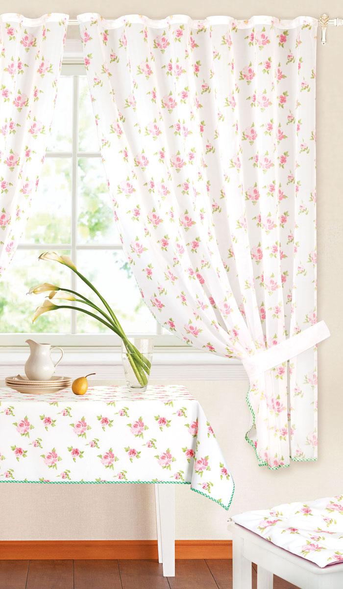 Комплект штор Garden, на ленте, цвет: розовый, размер 145*180 см. c 7255 w191 v25UN111322630Роскошный комплект тюлевых штор Garden, выполненный из вуали (полиэстера), великолепно украсит любое окно. Комплект состоит из двух штор, декорированных цветочным принтом. Воздушная ткань и приятная, приглушенная гамма привлекут к себе внимание и органично впишутся в интерьер помещения. Этот комплект будет долгое время радовать вас и вашу семью! Шторы крепятся на карниз при помощи ленты, которая поможет красиво и равномерно задрапировать верх. Шторы можно зафиксировать в одном положении с помощью двух подхватов.В комплект входит: Штора: 2 шт. Размер (Ш х В): 145 см х 180 см. Подхват: 2 шт. Размер (Д х Ш): 68 см х 4 см.