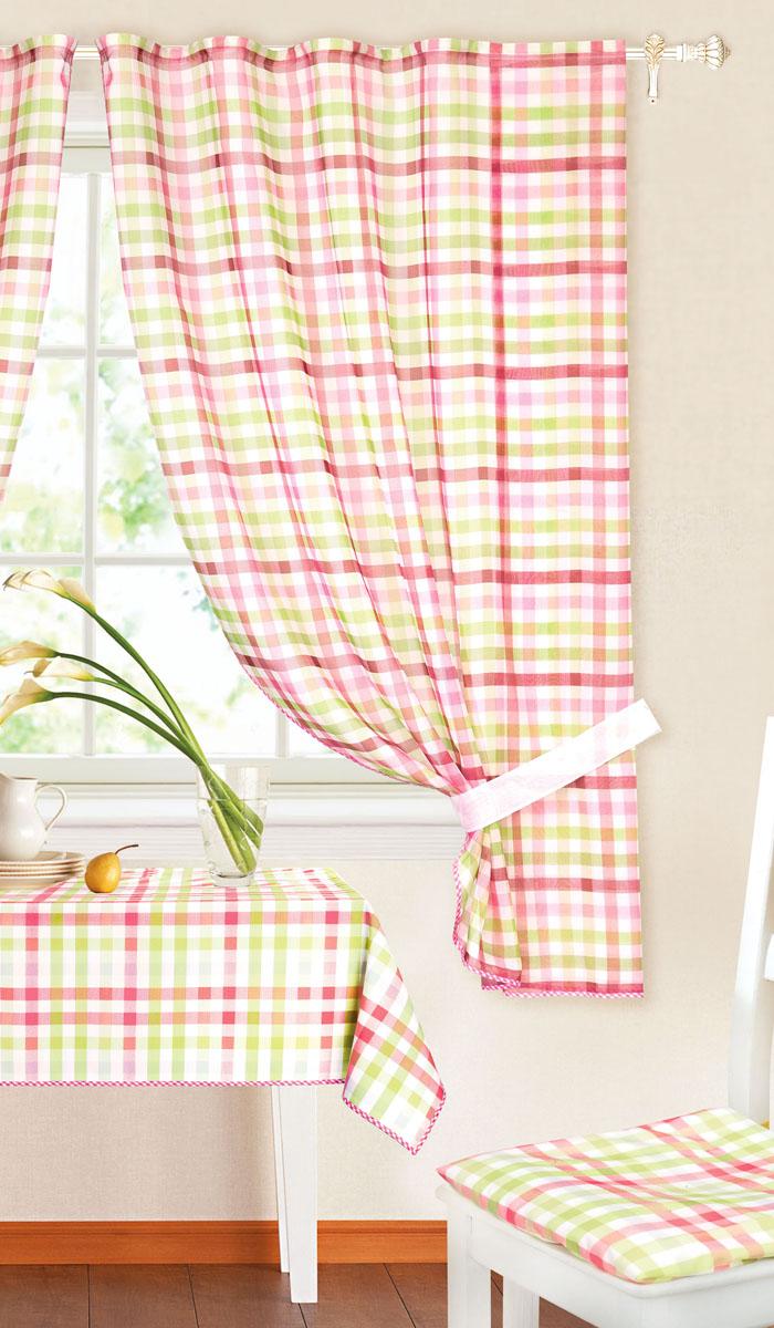 Комплект штор Garden, на ленте, цвет: зеленый, розовый, размер 145*180 см. c 8225 w191 v11SVC-300Роскошный комплект тюлевых штор Garden, выполненный из вуали (полиэстера_, великолепно украсит любое окно. Комплект состоит из двух штор, декорированных принтов в клетку. Воздушная ткань и приятная, приглушенная гамма привлекут к себе внимание и органично впишутся в интерьер помещения. Этот комплект будет долгое время радовать вас и вашу семью! Шторы крепятся на карниз при помощи ленты, которая поможет красиво и равномерно задрапировать верх. Шторы можно зафиксировать в одном положении с помощью двух подхватов.В комплект входит: Штора: 2 шт. Размер (Ш х В): 145 см х 180 см. Подхват: 2 шт. Размер (Д х Ш): 72 см х 5 см.