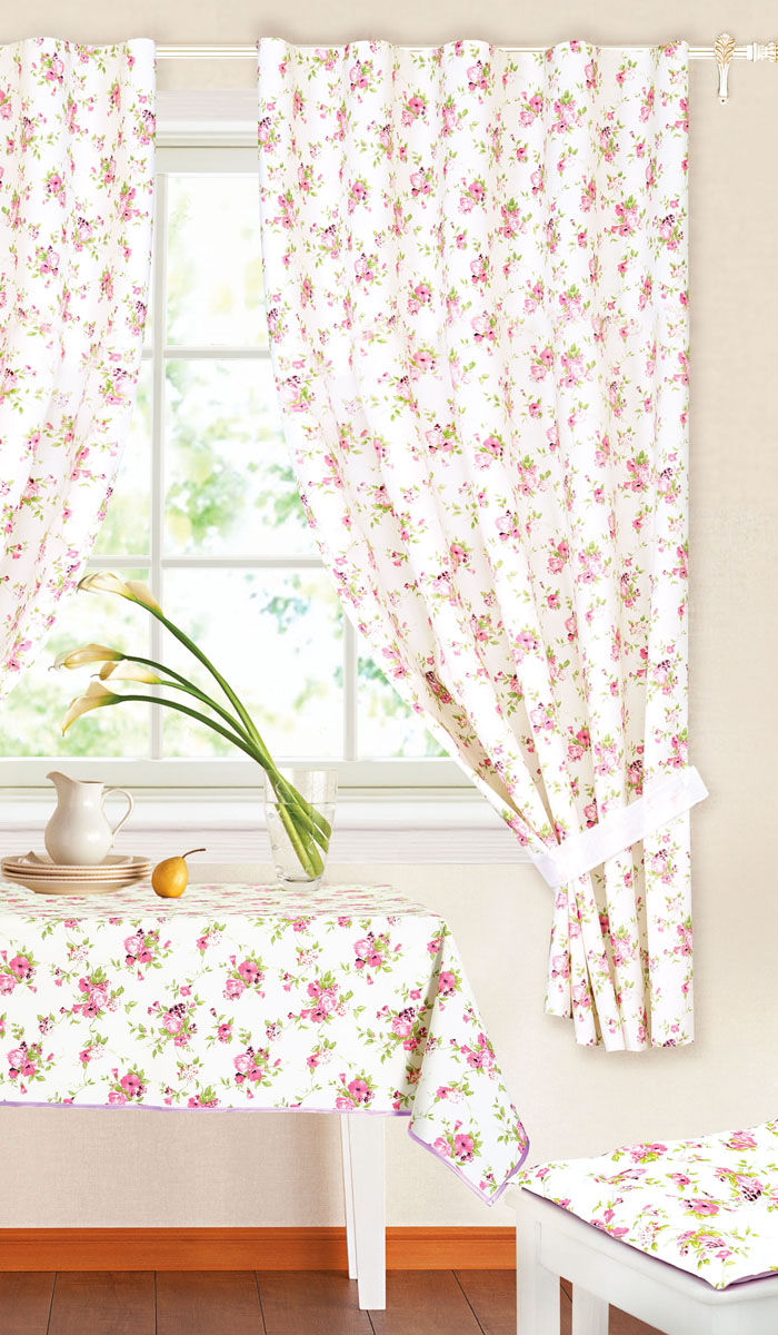 Комплект штор Garden, на ленте, цвет: сиреневый, размер 145* 180 см. c 9162 w191 v11GC013/00Роскошный комплект тюлевых штор Garden, выполненный из вуали (полиэстера), великолепно украсит любое окно. Комплект состоит из двух штор, декорированных цветочным принтом. Воздушная ткань и приятная, приглушенная гамма привлекут к себе внимание и органично впишутся в интерьер помещения. Этот комплект будет долгое время радовать вас и вашу семью! Шторы крепятся на карниз при помощи ленты, которая поможет красиво и равномерно задрапировать верх. Шторы можно зафиксировать в одном положении с помощью двух подхватов.В комплект входит: Штора: 2 шт. Размер (Ш х В): 145 см х 180 см. Подхват: 2 шт. Размер (Д х Ш): 74 см х 5 см.