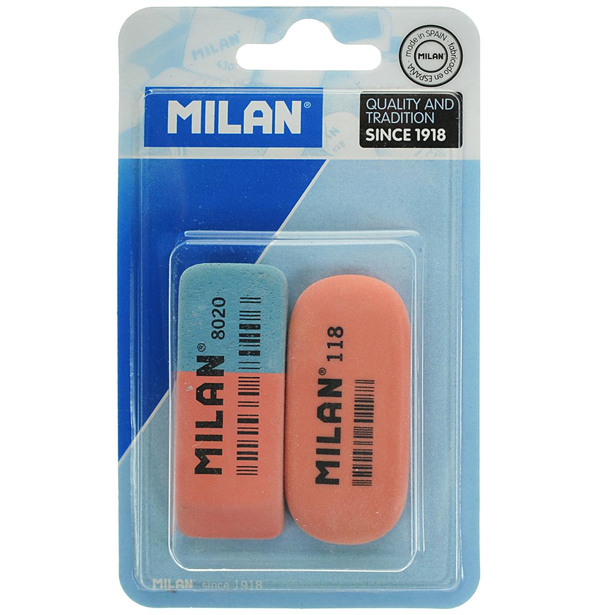 Набор ластиков Milan, 2 шт. 8020+118//9216FS-36055Ластики из набора Milan предназначены для стирания карандашей и чернил с бумаги различной плотности. Один из ластиков - натуральный. Синяя сторона другого ластика предназначена для работы с цветными пигментами и чернилами, красная - для графитовых надписей.В комплекте два ластика.