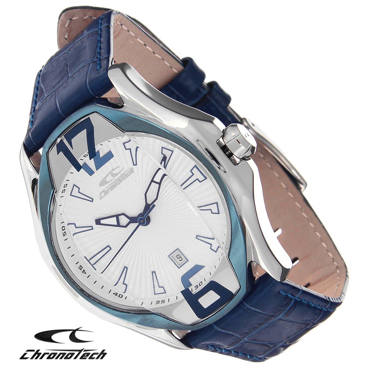 Часы мужские наручные Chronotech, цвет: синий. RW0032BM8434-58AEЧасы Chronotech - это часы для современных и стильных людей, которые стремятся выделиться из толпы и подчеркнуть свою индивидуальность. Корпус часов выполнен из нержавеющей стали. Циферблат оформлен арабскими цифрами и отметками и защищен минеральным стеклом. Часы имеют три стрелки - часовую, минутную и секундную. Часы имеют индикатор даты. Стрелки светятся в темноте. Ремешок часов выполнен из натуральной кожи с тиснением и застегивается на классическую застежку. Часы упакованы в фирменную коробку с логотипом компании Chronotech. Такой аксессуар добавит вашему образу стиля и подчеркнет безупречный вкус своего владельца.Характеристики: Диаметр циферблата: 3,5 см.Размер корпуса: 4,4 см х 5 см х 1,3 см.Длина ремешка (с корпусом): 26 см.Ширина ремешка: 2 см.