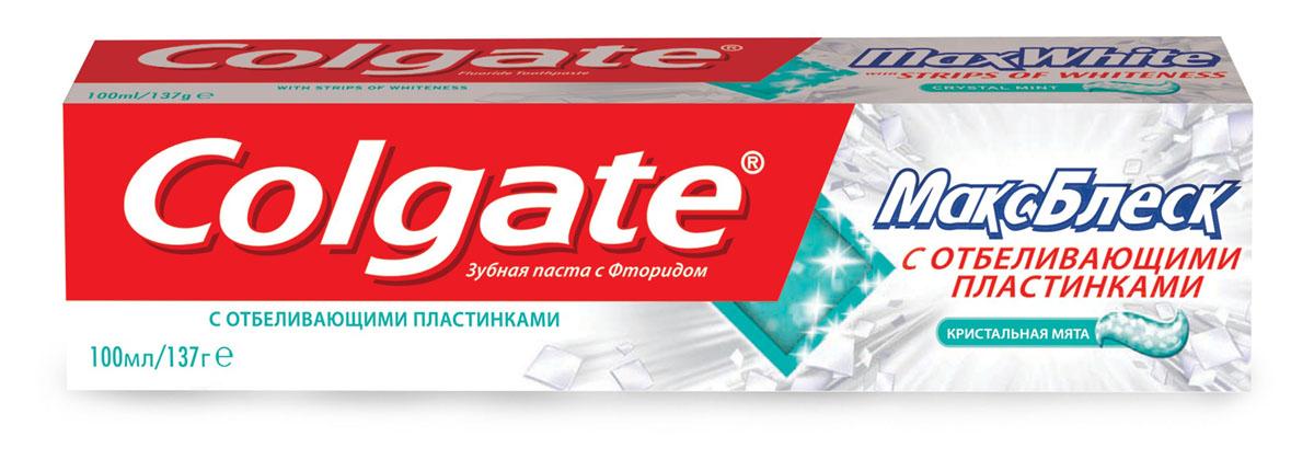 Зубная паста Colgate МаксБлеск, кристальная мята, 100 млMP59.4DЗубная паста Colgate МаксБлеск с отбеливающими пластинками освежает дыхание и борется с кариесом. Пластинки, насыщенные отбеливающим ингредиентом, растворяются при чистке зубов. Для впечатляющей эффективной улыбки! Характеристики: Объем: 100 мл. Производитель: Китай. Товар сертифицирован.