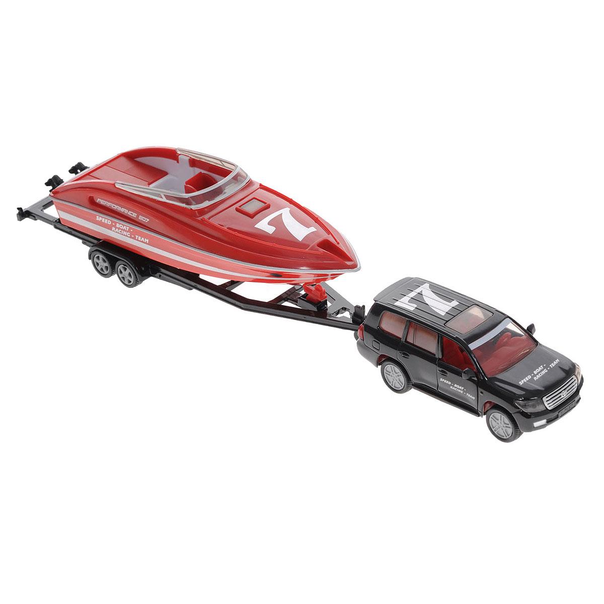 Siku Модель автомобиля Audi Q7 с катером тягач siku с катером на прицепе 1 87 красный 1613