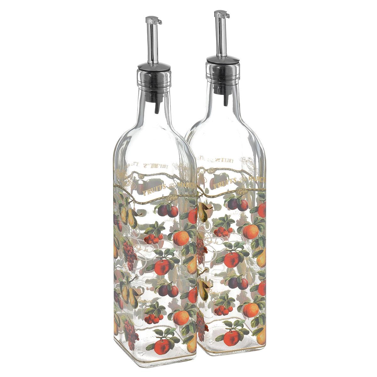 Набор емкостей для масла и уксуса Sinoglass Фрукты, 500 мл, 2 штVT-1520(SR)Набор Sinoglass состоит из двух емкостей для масла и уксуса. Изделия выполнены из высококачественного стекла и оформлены красочным изображением ягод и фруктов. Емкости оснащены специальными металлическими дозаторами, которые позволят добавить точное количество масла или уксуса. Благодаря прозрачным стенкам, можно видеть содержимое емкостей. Такой набор стильно дополнит интерьер кухни и станет незаменимым помощником в приготовлении ваших любимых блюд.Высота емкостей: 31 см. Размер основания: 5,5 см х 5,5 см.