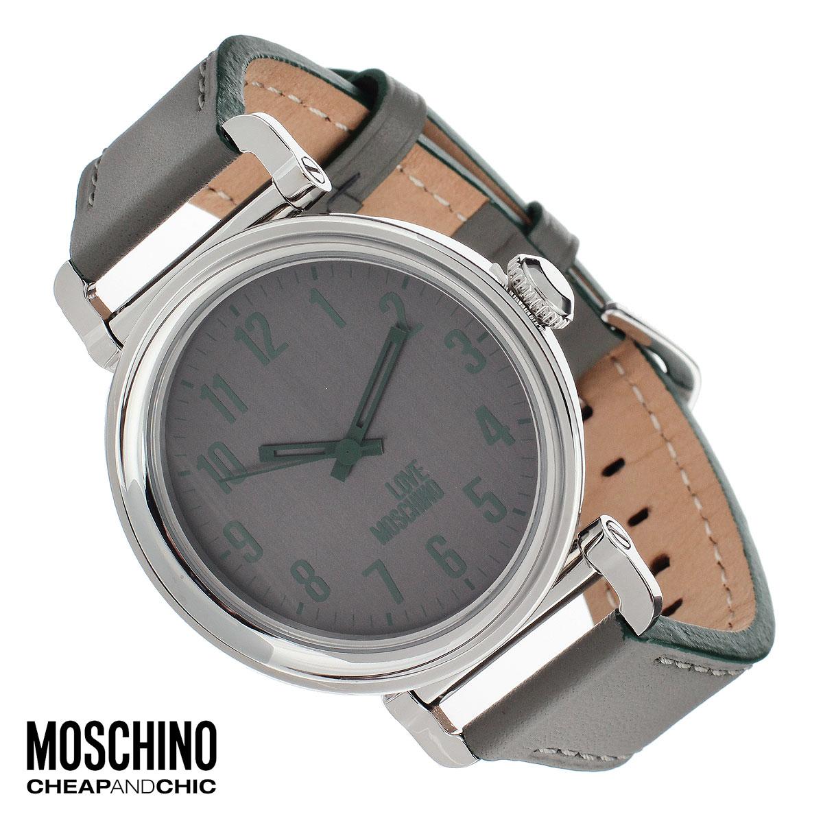 """Часы женские наручные Moschino, цвет: серый. MW0451BM8434-58AEНаручные часы от известного итальянского бренда Moschino - это не только стильный и функциональный аксессуар, но и современные технологи, сочетающиеся с экстравагантным дизайном и индивидуальностью. Часы Moschino оснащены кварцевым механизмом. Корпус выполнен из высококачественной нержавеющей стали. Циферблат с арабскими цифрами оформлен надписью """"Love Moschino"""" и защищен минеральным стеклом. Часы имеют три стрелки - часовую, минутную и секундную. Ремешок часов выполнен из натуральной кожи и имеет классическую застежку. Часы упакованы в фирменную металлическую коробку с логотипом бренда. Часы Moschino благодаря своему уникальному дизайну отличаются от часов других марок своеобразными циферблатами, функциональностью, а также набором уникальных технических свойств.Каждой модели присуща легкая экстравагантность, самобытность и, безусловно, великолепный вкус. Характеристики:Диаметр циферблата: 3,6 см.Размер корпуса: 4,5 см х 4,5 см х 1 см.Длина ремешка (с корпусом): 26,5 см.Ширина ремешка: 2 см."""