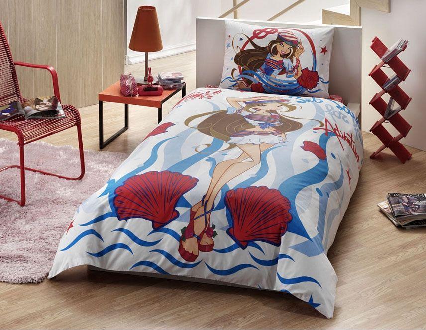 TAC Ranforce детский (3-12)/Disney 1,5сп Winx Flora Ocean2615S545JBОсуществит заветную мечту ребенка окунуться в волшебный мир сказок, а любимые персонажи создадут атмосферу уюта для Вашего малыша. Постельное Белье Содержит два дизайна, на наволочке и на пододеяльнике!!!Ранфорс – плотная, в тоже время мягкая ткань, напоминает бязь. Идеально поддерживает естественный температурный баланс тела. Легко впитывает влагу (до 20% своего веса), оставаясь при этом сухой на ощупь. Очень устойчива к частым стиркам. Материал: 100% хлопокРазмер: пододеяльник 160*220, простыня 180*260, наволочка 50*70 (1шт)Цвет: