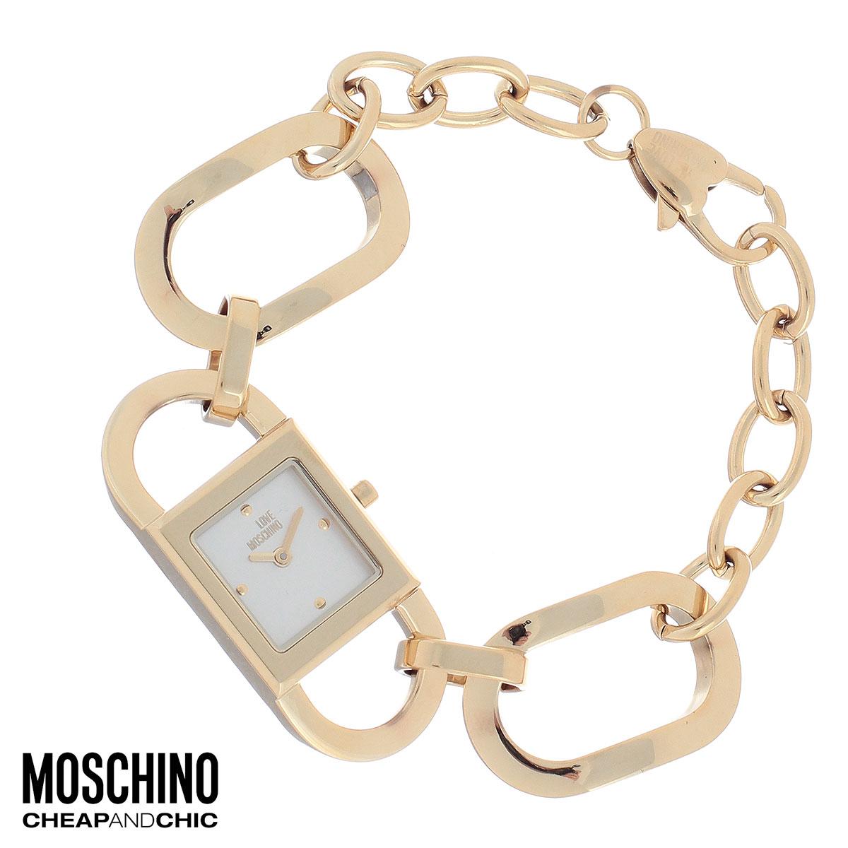 """Часы женские наручные Moschino, цвет: золотой. MW0478EQW-M710DB-1A1Наручные часы от известного итальянского бренда Moschino - это не только стильный и функциональный аксессуар, но и современные технологи, сочетающиеся с экстравагантным дизайном и индивидуальностью. Часы Moschino оснащены кварцевым механизмом. Корпус выполнен из высококачественной нержавеющей стали с PVD-покрытием. Циферблат с отметками оформлен надписью """"Love Moschino и защищен минеральным стеклом. Часы имеют две стрелки - часовую и минутную. Браслет часов выполнен из нержавеющей стали в виде цепочки из крупных звеньев и имеет надежную застежку-карабин.Часы упакованы в фирменную металлическую коробку с логотипом бренда. Часы Moschino благодаря своему уникальному дизайну отличаются от часов других марок своеобразными циферблатами, функциональностью, а также набором уникальных технических свойств.Каждой модели присуща легкая экстравагантность, самобытность и, безусловно, великолепный вкус. Характеристики: Размер циферблата: 1,5 см х 1,5 см.Размер корпуса: 1,9 см х 1,9 см х 0,7 см.Длина браслета (с корпусом): 20 см.Ширина браслета: 2 см."""