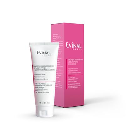Evinal Крем для увеличения объема груди, с экстрактом плаценты, 75 мл0226Эффективное быстродействующее средство Evinal в виде нежирного пленкообразующего крема рекомендуется при первых признаках дряблости кожи, возникающих после беременности, после режима похудения или в результате возрастных изменений.Крем подтягивает кожу, уплотняет ткани, замедляет процессы старения, оказывает регенерирующее действие, увлажняет, восстанавливает форму природного бюстгальтера, увеличивает объем груди, улучшает общий вид груди. Этот крем защищает волокна коллагена и эластина и способствует поддержанию упругости тканей. Характеристики:Объем: 75 мл. Производитель: Россия. Артикул: 0226. Товар сертифицирован.
