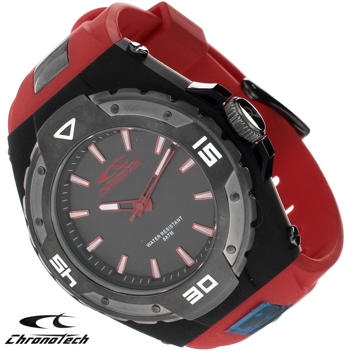 Часы мужские наручные Chronotech, цвет: черный, красный. RW0018BM8434-58AEЧасы Chronotech - это часы для современных и стильных людей, которые стремятся выделиться из толпы и подчеркнуть свою индивидуальность. Корпус часов выполнен из нержавеющей стали с покрытием. Циферблат оформлен отметками и защищен минеральным стеклом. Часы имеют три стрелки - часовую, минутную и секундную. Стрелки и отметки светятся в темноте. Ремешок часов выполнен из полиуретана и застегивается на классическую застежку. Часы выполнены в спортивном стиле.Часы упакованы в фирменную коробку с логотипом компании Chronotech. Такой аксессуар добавит вашему образу стиля и подчеркнет безупречный вкус своего владельца. Характеристики:Диаметр циферблата: 3,1 см.Размер корпуса: 5 см х 5 см х 1,1 см.Длина ремешка (с корпусом): 22 см.Ширина ремешка: 2,3 см.