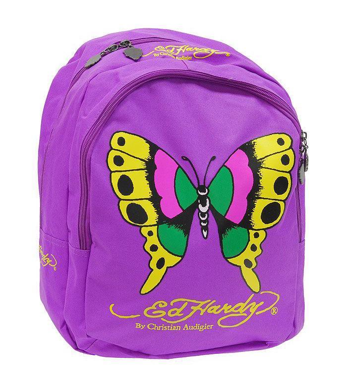 Рюкзак Ed Hardy (Эд Харди) Бабочка, цвет: сиреневый000499Замечательный рюкзак Бабочка, изготовленный из полиэстера сиреневого цвета, оформлен оригинальным рисунком в тату-стиле в виде бабочки и логотипом Ed Hardy. Рюкзак имеет два вместительных отделения, которые закрываются на застежки-молнии, бегунки которых оформлены подвесками в виде головы тигра. Благодаря двум мягким плечевым ремням, длина которых регулируется, у вас не возникнет неудобств при ношении рюкзака на спине, а текстильная ручка-петелька, обеспечит удобную переноску рюкзака в руке. В комплект к сумке прилагаются три шариковые ручки, декорированные рисунками в тату-стиле.