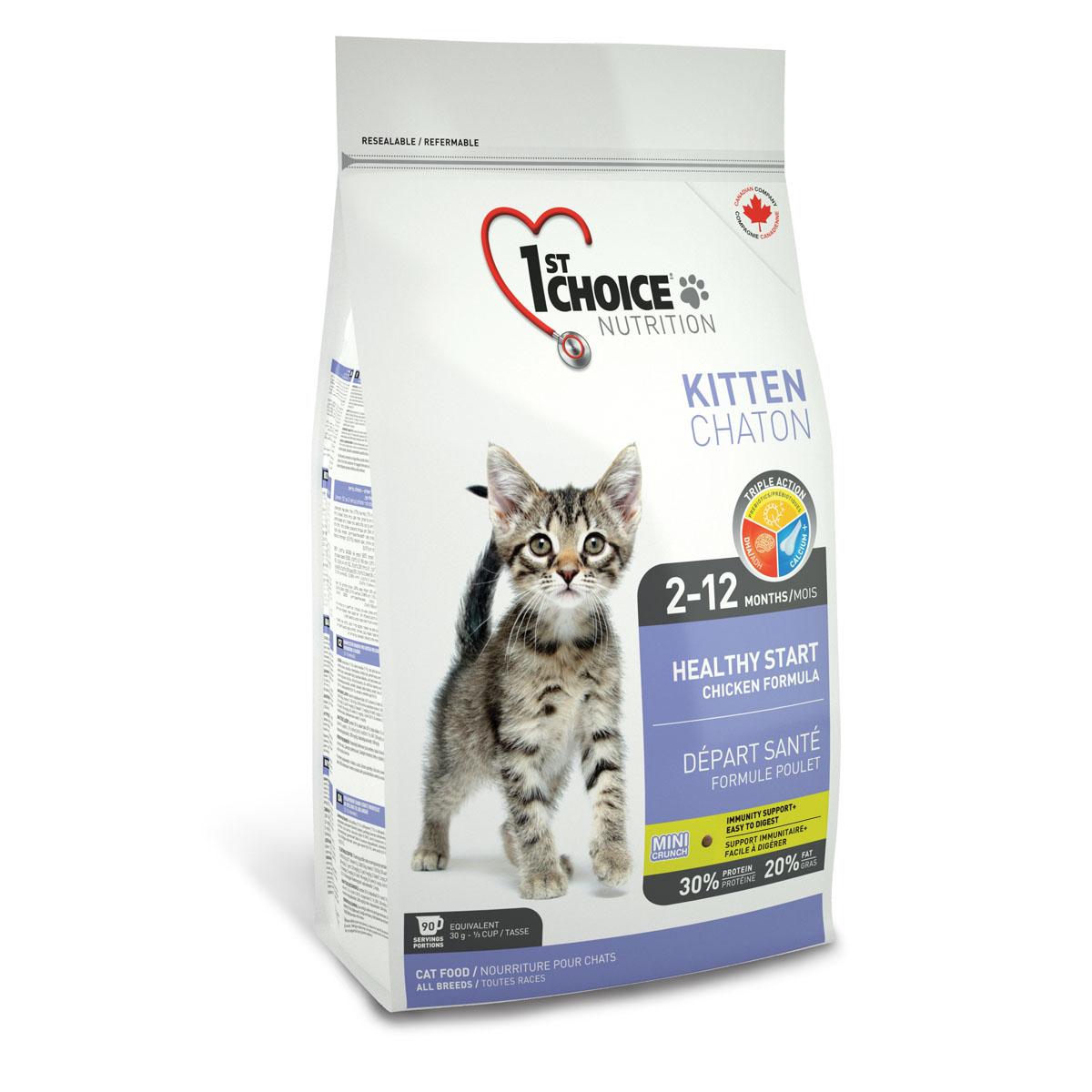 Корм сухой 1st Choice Kitten для котят, с курицей, 350 г0120710Сухой корм 1st Choice Kitten идеальная формула для начального прикорма котенка с 2 месяцев, когда он нуждается в новых источниках питания вместо материнского молока. При этом нет необходимости разделять котенка с мамой. Корм содержит все необходимое не только для растущего организма, но и для беременных и кормящих кошек. Оптимальное питание для старта в здоровую жизнь! Мелкие гранулы легко усваиваются в организме котенка,укрепляя иммунитет, полученный от матери. Входящий в состав жир лосося - самый лучший источник DHA (докозагексаеновой кислоты), которая обеспечивает оптимальное развитие центральной нервной системы, головного мозга и зрения.Пребиотики поддерживают иммунитет и способствуют хорошему пищеварению, кальций - правильному развитию костной системы котёнка. DHA развивает центральную нервную систему, головной мозг и зрение.Ингредиенты: свежая курица 17%, мука из мяса курицы 17%, рис, куриный жир, сохраненный смесью натуральных токоферолов (витамин Е), гороховый протеин, сушеное яйцо, мука из американской сельди (менхаден), коричневый рис, специально обработанные ядра ячменя и овса, гидролизат куриной печени, мякоть свеклы, клетчатка гороха, цельное семя льна, жир лосося (источник DHA), сушеная мякоть томата, калия хлорид, лецитин, холина хлорид, соль, кальция пропионат, кальция карбонат, экстракт дрожжей (источник маннан-олигосахаридов), таурин, натрия бисульфат, DL-метионин, экстракт цикория (источник инулина), железа сульфат, аскорбиновая кислота (витамин С), L-лизин, цинка оксид, натрия селенит, альфа-токоферол ацетат (витамин Е), никотиновая кислота, экстракт юкки Шидигера, кальция иодат, марганца оксид, D-кальция пантотенат, тиамина мононитрат, рибофлавин, пиридоксина гидрохлорид, витамин А, холекальциферол (витамин Д3), цинка протеинат, биотин, сушеная мята 0,01%, сушеная петрушка 0,01%, экстракт зеленого чая 0,01%, марганца протеинат, витамин В12, кобальта карбонат, фолиевая кислота, меди п