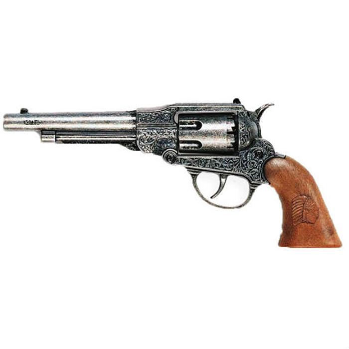 """Пистолет """"Navy Metall Western"""" приведет в восторг любого малыша, увлеченного романтикой вестернов, детективных расследований и оживленных полицейских погонь. Пистолет выполнен из пластика и металла, и представляет собой реалистичную модель старинного револьвера с вращающимся барабаном и винтажным резным стволом. Рукоять оформлена """"под дерево"""". Пистолет отлично стреляет с характерным громким щелчком, а удобная рукоять плотно ложится в руку. Емкость магазина: 8 пистонов. Этот пистолет непременно придется по вкусу вашему маленькому шерифу, он сможет часами играть с ним, придумывая различные истории и разыгрывая сцены из любимых фильмов. Такие игры помогут малышу развить социальные и коммуникативные навыки, воображение, крупную и мелкую моторику. Порадуйте своего ребенка таким замечательным подарком! Edison Giocattoli - один из лучших производителей игрушечных пистонных пистолетов, мишеней и винтовок с пульками. Игрушки компании Edison Giocattoli выпускаются на..."""