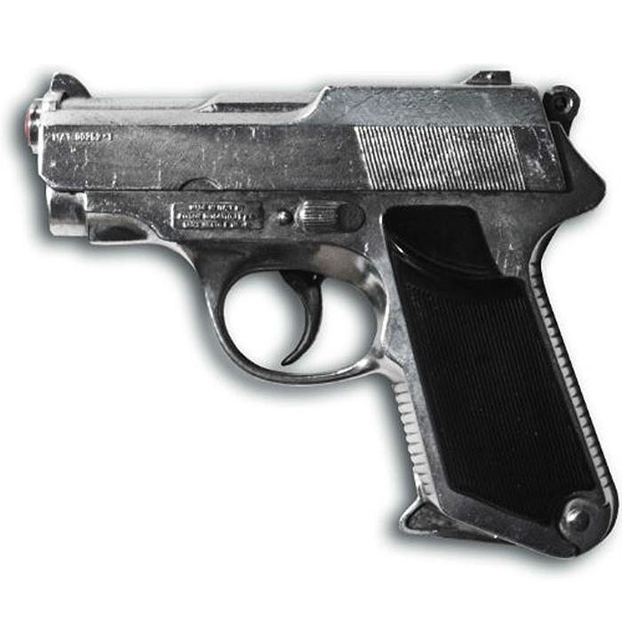 """Пистолет """"Sharkmatic"""" приведет в восторг любого малыша, увлеченного романтикой детективных расследований и оживленных полицейских погонь. Он идеально подойдет для детских игр в отважных защитников правопорядка и дерзких бандитов. Игрушка выполнена из металла и пластика и представляет собой реалистичную модель современного пистолета с массивным литым стволом. Пистолет отлично стреляет, а удобная рукоять плотно ложится в руку. Емкость магазина: 13 пистонов. Эту уникальную модель из ограниченной серии отличает следующее: ручная сборка и полировка, уникальный номер модели (выгравирован сбоку) и de-luxe кейс. Этот пистолет непременно придется по вкусу вашему ребенку, он сможет часами играть с ним, придумывая различные истории и разыгрывая сцены из любимых фильмов. Такие игры помогут малышу развить социальные и коммуникативные навыки, воображение, крупную и мелкую моторику. Порадуйте своего ребенка таким замечательным подарком! Edison Giocattoli - один из..."""