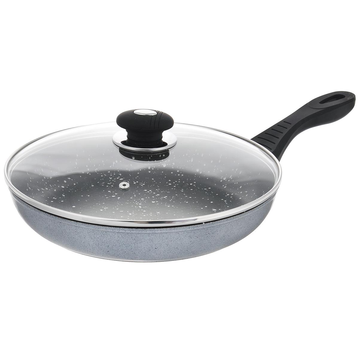 Сковорода Winner с крышкой, с антипригарным покрытием, цвет: серый. Диаметр 28 см. WR-6147 сковорода с крышкой winner wr 6161