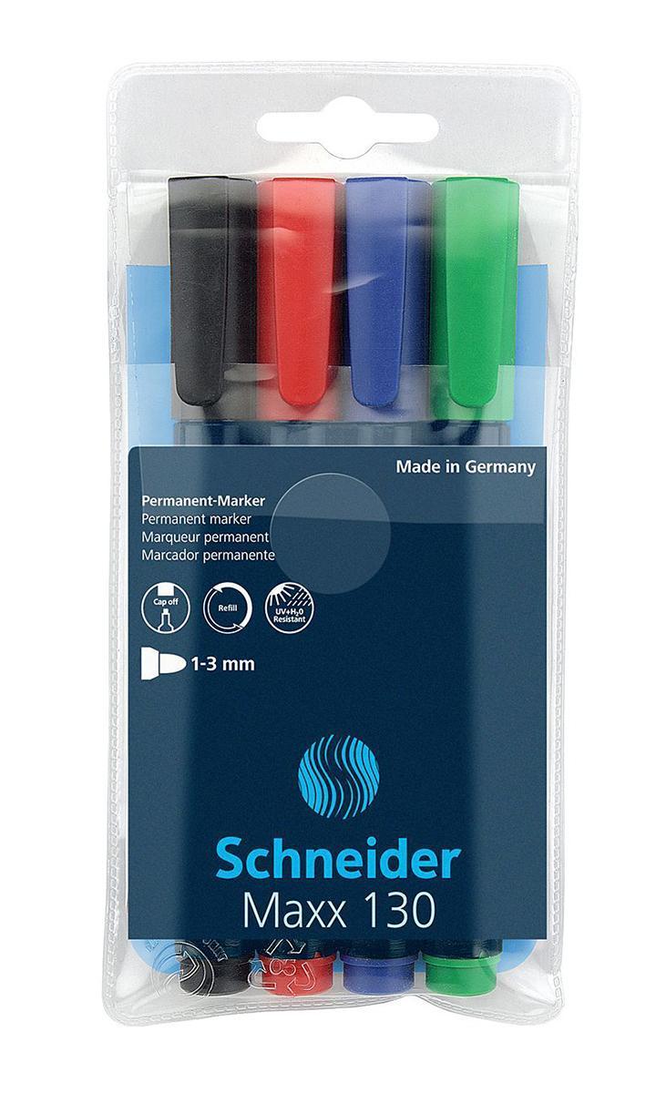 Набор маркеров Permanent Maxx 130, 1-3 мм,4 шт. (черный+красный+синий+зеленый).S1300-4