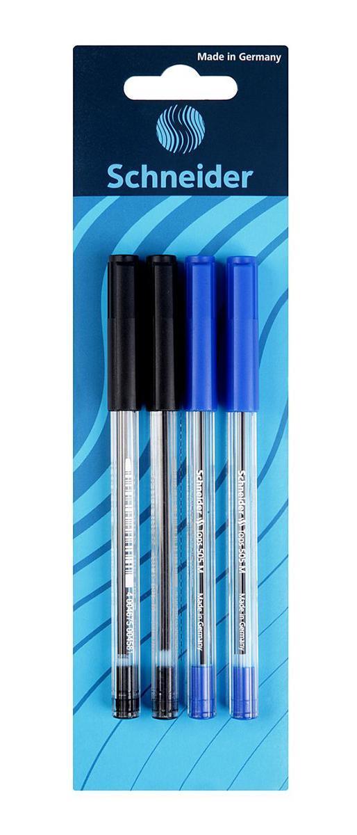 Набор ручек шариковых TOPS 505 (M-0,5 мм), 4 шт.,(2 черных+2 синих).S50604-2/13