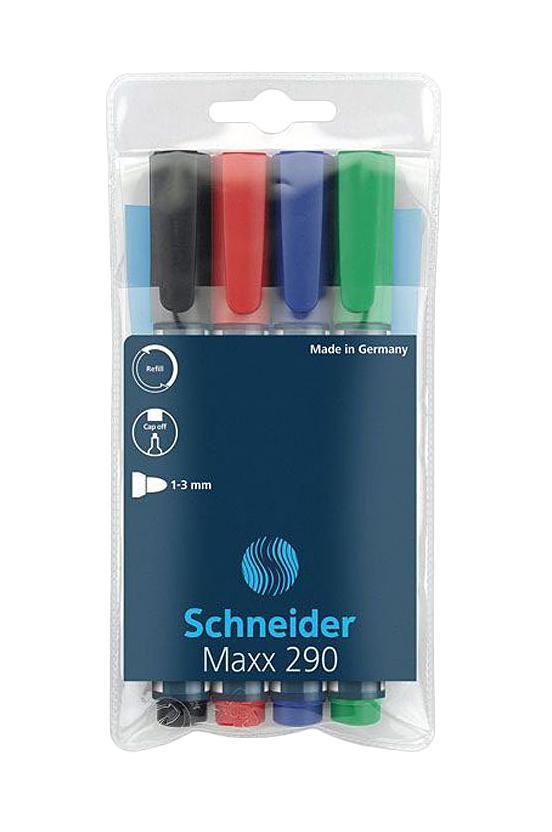 Набор маркеров Whiteboard and Flipchart Maxx 290; 1-3 мм, 4 цвета: черный+красный+синий+зеленый.S2900-4