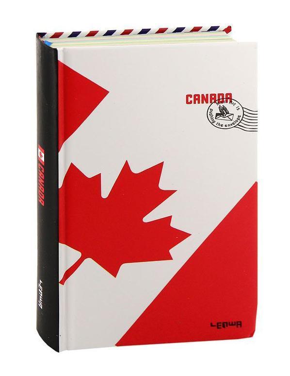 Блокнот Флаг Канады72523WDСтильный блокнот Флаг Канады в твердом переплете - яркий аксессуар человека, ценящего практичные и качественные вещи. Обложка оформлена изображением канадского флага и почтового штампа. Внутренний блок содержит разноцветные нелинованные листы и листы в линейку для заметок. Страницы оформлены надписями и фотографиями. Для удобства поиска нужной страницы в блокноте предусмотрено ляссе. Блокнот Флаг Канады - прекрасный подарок и незаменимый аксессуар современного человека. Характеристики: Материал:картон, бумага.Размер блокнота:11 см х 18,5 см.Изготовитель:Китай.Артикул: 101095.