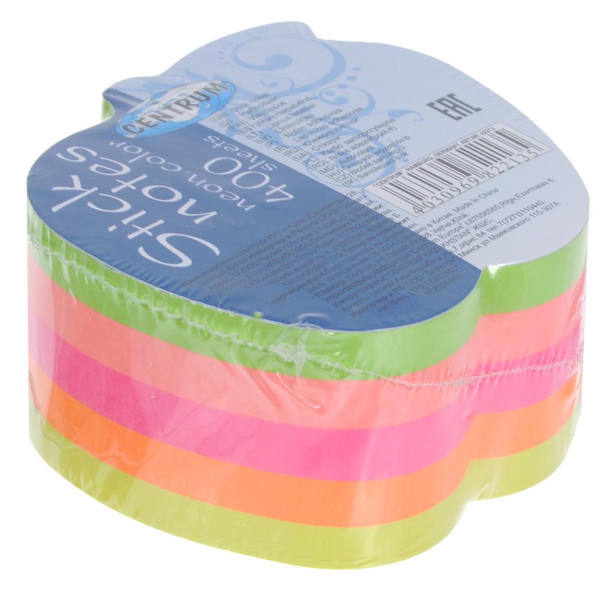 Блок для записей Centrum, с липким слоем, 7,2 см х 7 см0703415Цветная бумага из блока Centrum идеально подойдет для важных пометок и записей. Яркие неоновые оттенки, высокое качество и оригинальный дизайн в форме яблока выделяют предлагаемую бумагу из ряда подобных. Блок состоит из 400 листочков с липким слоем оранжевого, салатового, желтого, розового и ярко-розового цветов (по 80 листочков каждого цвета). В каждом имеется круглое отверстие диаметром 1,2 см.