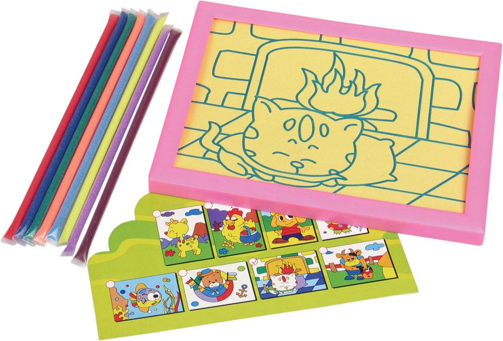 """Набор для детского творчества """"Создай картину из цветного песка"""". В комплекте: рисунок - трафарет на липкой основе в пластиковой рамке 15*20см, цветной песок 8 цветов. 82457"""