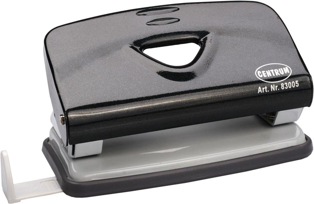 Дырокол Centrum, на 10 листов, цвет: черный. 830059718Удобный и практичный дырокол Centrum - незаменимый офисный инструмент. Металлический дырокол предназначен для одновременной перфорации до 10 листов бумаги. Для удобства оснащен линейкой-направляющей с разметкой для документов различных форматов, а также имеет съемный резервуар для обрезков бумаги, встроенный в основание. Массивный дырокол обладает хорошей устойчивостью и не скользит по поверхности стола. Дырокол - необходимый инструмент для любого, кто работает с большими объемами данных, он позволяет быстро и легко перфорировать документы для последующего подшивания их в папки. Благодаря дыроколу Centrum, ваши бумаги и ценные документы всегда будут организованы.