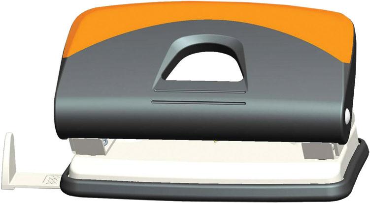 Дырокол Centrum, на 10 листов, цвет: серый, оранжевый. 83417FS-54115Удобный и практичный дырокол Centrum - незаменимый офисный инструмент. Металлический дырокол предназначен для одновременной перфорации до 10 листов бумаги. Для удобства оснащен линейкой-направляющей с разметкой для документов различных форматов, а также имеет съемный резервуар для обрезков бумаги, встроенный в основание. Эргономичный и легкий дырокол обладает хорошей устойчивостью и не скользит по поверхности стола. Дырокол - необходимый инструмент для любого, кто работает с большими объемами данных, он позволяет быстро и легко перфорировать документы для последующего подшивания их в папки. Благодаря дыроколу Centrum, ваши бумаги и ценные документы всегда будут организованы.