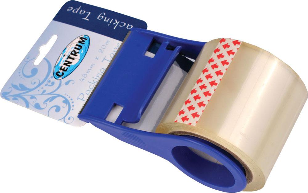 Лента упаковочная Centrum, прозрачная, с держателем19448Упаковочная лента Centrum отвечает всем требованиям к процессу упаковки: исключительно надежно фиксирует, бесшумно разматывается, легко отрывается. Поставляется в диспенсере. Диспенсер изготовлен из пластика синего цвета, корпус диспенсера изготовлен из прочного металла, оснащен металлическим лезвием для отрыва.