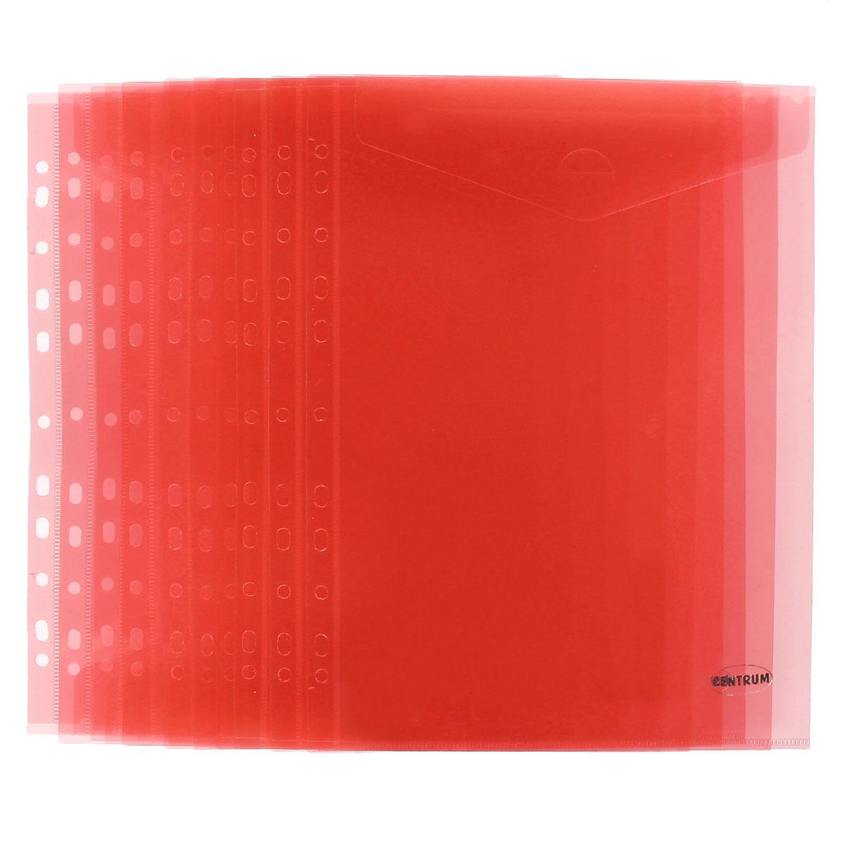 Папка-конверт Centrum, вертикальная, с перфорацией, цвет: красный. Формат А4, 10 штПкм4к_08880Папка-конверт Centrum - это удобный и практичный офисный инструмент, предназначенный для хранения и транспортировки рабочих бумаг и документов формата А4. Папка изготовлена из полупрозрачного матового пластика, имеет перфорацию. В комплект входят 10 папок формата А4. Папка-конверт - это незаменимый атрибут для студента, школьника, офисного работника. Такая папка надежно сохранит ваши документы и сбережет их от повреждений, пыли и влаги.