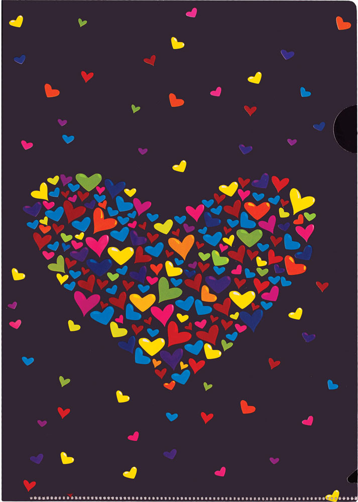 Папка-уголок Centrum Сердце, цвет: черный. Формат А4, 5 штC13S041944Папка-уголок Centrum Сердце - это удобный и практичный инструмент, предназначенный для хранения и транспортировки рабочих бумаг и документов формата А4. Папка изготовлена из плотного глянцевого пластика, оформлена красочным изображением разноцветных сердечек в форме большого сердца. В комплект входят 5 папок формата А4. Папка-уголок - это незаменимый атрибут для студента, школьника, офисного работника. Такая папка надежно сохранит ваши документы и сбережет их от повреждений, пыли и влаги.