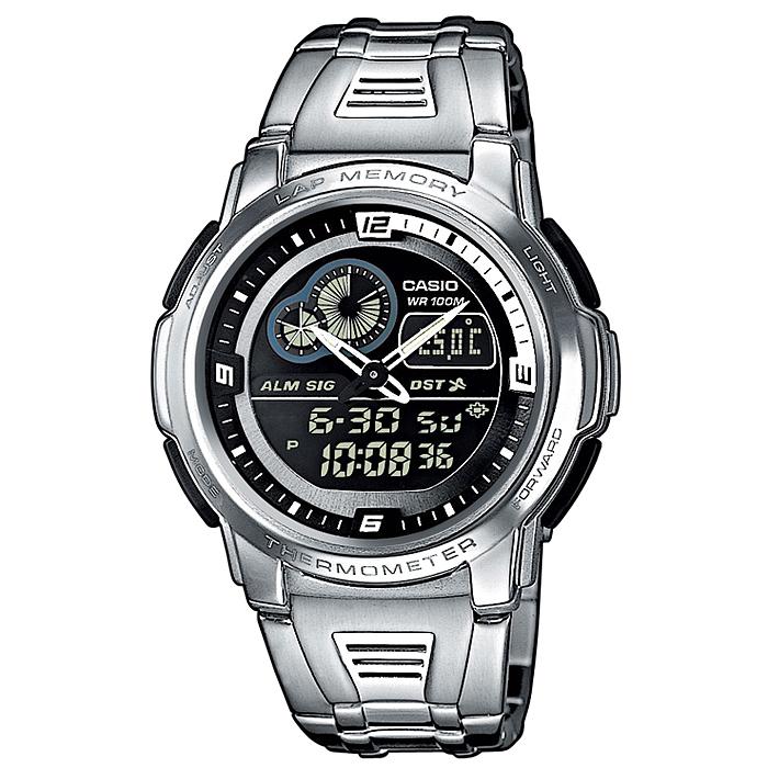 Часы наручные Casio, цвет: серебристый, черный. AQF-102WD-1B3-47660-00504Стильные аналогово-цифровые часы от японского брэнда Casio - это яркий функциональный аксессуар для современных людей, которые стремятся выделиться из толпы и подчеркнуть свою индивидуальность.Часы оснащены японским кварцевым механизмом. Корпус часов изготовлен из нержавеющей стали и пластика. Циферблат с двумя стрелками защищен пластиковым стеклом. Часы застегиваются при помощи застежки-клипсы.Основные функции: -будильник; -автоматический календарь (число, месяц, день недели, год); -термометр; -подсветка (электролюминесцентные панели), автоподсветка; -секундомер: время измерения - 100 часов; -12-ти и 24-х часовой формат времени; -таймер; -мировое время. Питание часов осуществляется от сменной батареи. Часы упакованы в фирменную коробку с логотипом Casio. Такой аксессуар придаcт вашему образу нотку изысканности и элегантности. Характеристики:Длина ремешка (с корпусом): 33 см.Ширина ремешка: 2,3 см.Размер корпуса: 6,2 см х 3,5 см х 1,2 см.Размер циферблата:3,1 см х 3,1 см.