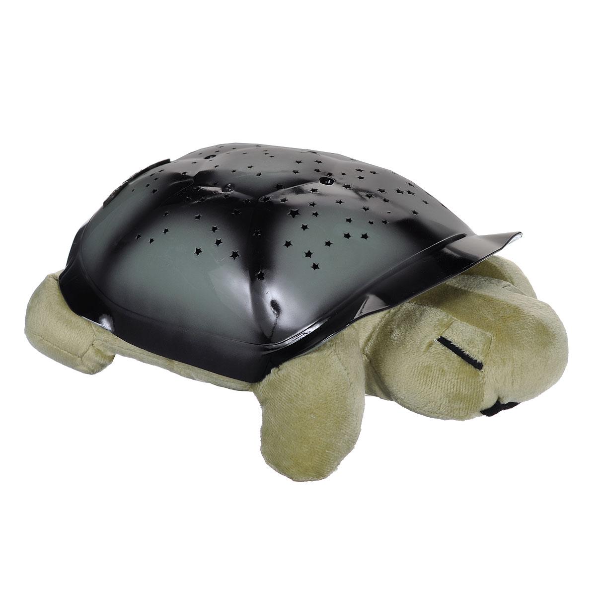 Ночник-проектор Bradex Звездная черепашка, цвет: оливковый, темно-серыйA2134PL-2WHНочник-проектор Bradex Звездная черепашка создаст волшебную атмосферу для сна ребенка.Это удивительный светильник, выполненный в форме мягкой игрушки-черепашки. Дизайн игрушки наверняка сразу понравится вашему малышу и завоюет его безграничную любовь. Благодаря своему волшебному панцирю черепашка имеет возможность проецировать на потолок и стену карту звездного неба (8 созвездий). Ночник может работать в трех цветовых режимах, с подсветкой синего, зеленого и янтарного цветов. Для переключения режима подсветки на панцире черепахи расположены специальные кнопки. Ночник автоматически отключается через 50 минут работы.В комплект входит инструкция по эксплуатации на русском языке, на обратной стороне которой вы найдете описание созвездий, что позволит вам и вашему ребенку вместе изучать звездное небо, развивая кругозор вашего малыша.Необходимо докупить 3 батарейки напряжением 1,5V типа ААА (не входят в комплект).