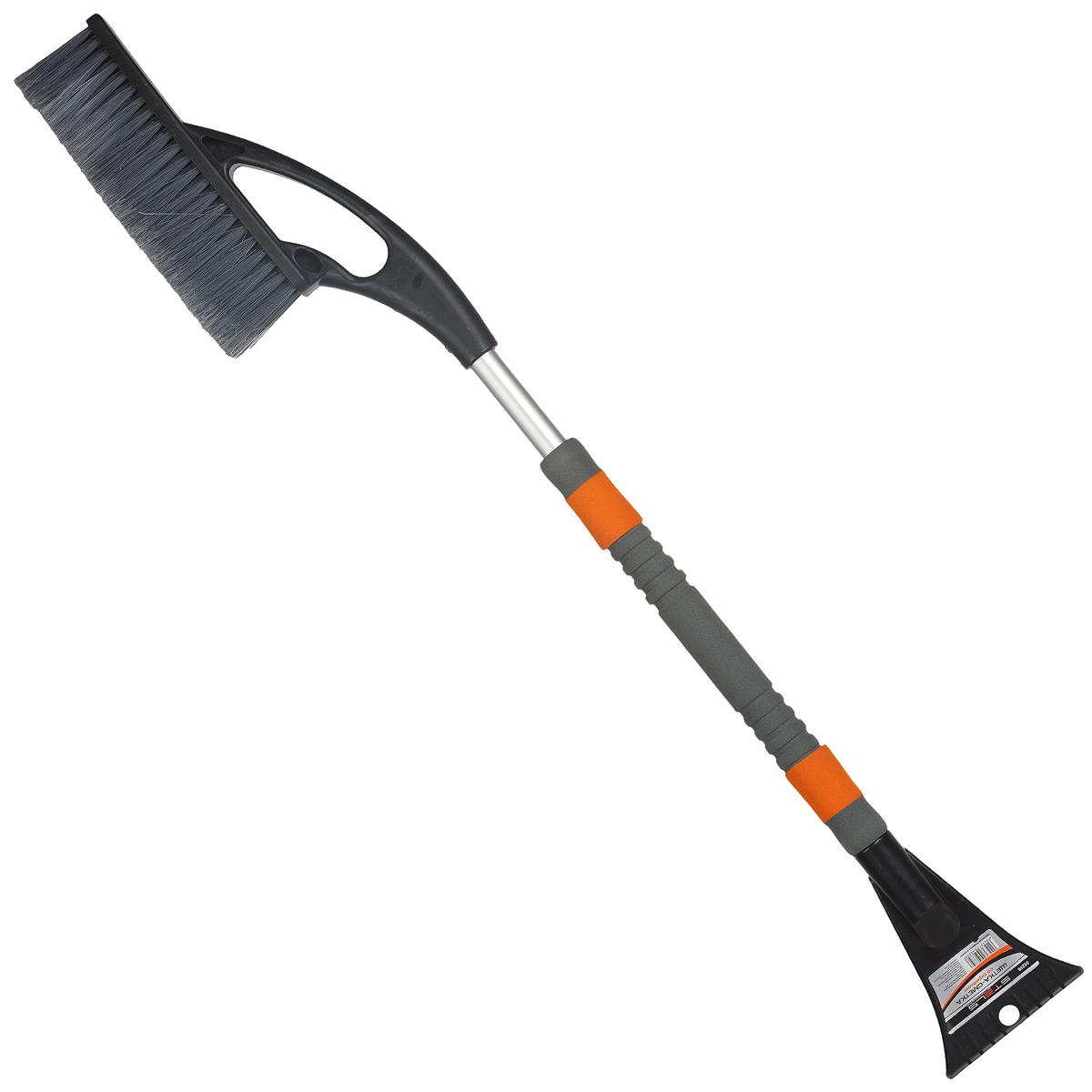 Щетка-сметка для снега Stels, со скребком, автомобильная, 85 смBWN-109Щетка-сметка Stels предназначена для удаления снега и льда с автомобиля. Оснащена усиленной рукояткой из алюминиевого сплава с удлиненным мягким держателем. Густая распушенная щетина для бережной очистки снега с поверхности. Имеет мощный скребок с зубьями для дробления льда.