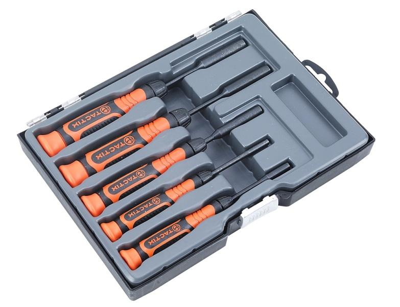 Набор инструментов Tactix, 5 предметов. 54523354 009318Набор инструментов Tactix предназначен для монтажа и демонтажа резьбовых соединений. Инструменты изготовлены из высококачественной стали.Состав набора:Отвертки торцевые шестигранные: 3/32, 1/8, 5/32, 3/16, 1/4.