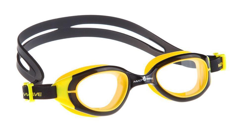 Очки для плавания Mad Wave UV Blocker Junior, цвет: желтый, черныйJ504N-9093Очки с фотохромными линзами для использования, как в закрытых бассейнах, так и в открытых водоемах. В закрытых помещениях линзы абсолютно прозрачны, на солнце из-за фотохроматического эффекта линзы будут затемняться и блокировать излучение ультрафиолета. Антизапотевающие стекла. Линзы из триацетат целлюлозы. Вид переносицы - моноблок. Оправа - термопластичная резина. Силиконовый обтюратор и ремешок. В комплект поставки входит сетчатый футляр на молнии для транспортировки и хранения очков.