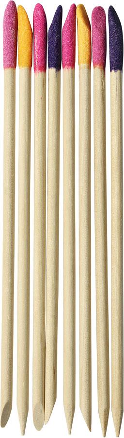 UBU Палочки для кутикулы, с абразивным наконечником, 8 шт. 19-501219-5012Палочки для кутикулы UBU изготовлены из дерева и имеют абразивные наконечники. Обычная сторона используется для отодвигания кутикулы, а абразивным наконечником можно удалить сухую грубую кожу. С помощью этих палочек ваши ногти всегда будут ухоженными.Товар сертифицирован.Длина палочек: 14 см. Материал: дерево, наждачный порошок.