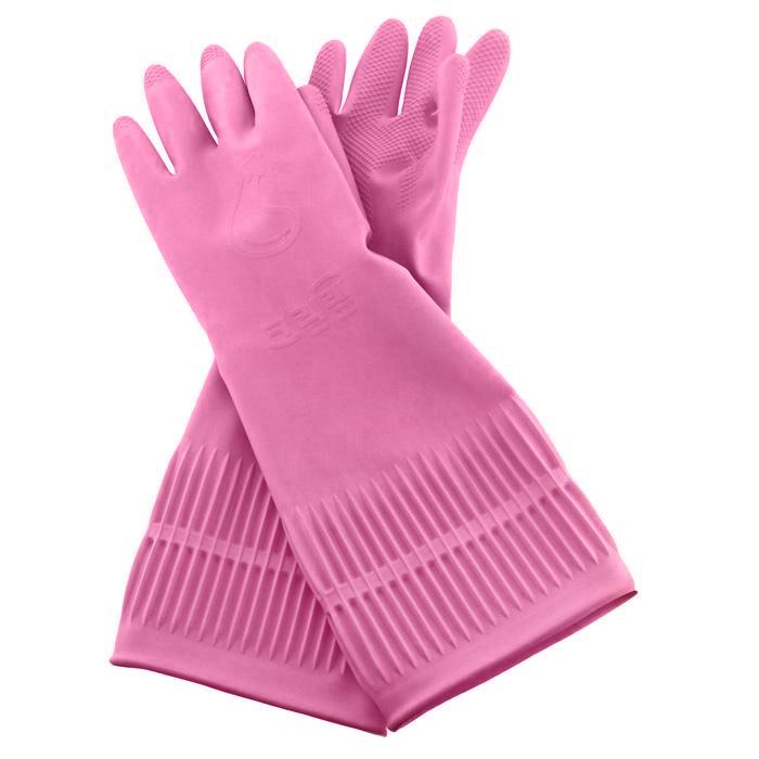 Перчатки латексные Clean Wrap Latex Glove, цвет: розовый. Размер SES-412Хозяйственные ароматизированные перчатки Latex Glove предохраняют кожу рук от загрязнения и влаги, они идеально подходят для стирки, уборки и прочих работ по хозяйству. Метод двойного покрытия делает перчатки более гигиеничными и удобными. Защищает руки благодаря специальному защитному компоненту на внутренней поверхности перчаток. При изготовлении перчаток используется 100% натуральный латекс, который сохраняет мягкость и прочность при использовании, как в горячей, так и в холодной воде, и зимой при низких температурах. Эргономичный дизайн позволяет перчаткам удобно прилегать к рукам, создавая удобство в использовании и не натирая кожу. Обеспечивают комфорт рукам, благодаря контролирующему влажность покрытию. Превосходные водоотталкивающие и быстросохнущие свойства позволяют перчаткам хорошо держаться на руках и легко сниматься даже в намоченном состоянии. Поверхность пальцев и ладони рифленая.