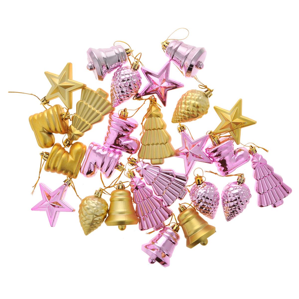 Набор новогодних украшений House & Holder, цвет: розовый, золотистый, 25 шт97775318Набор House & Holder состоит из 25 новогодних подвесных украшений. Изделия выполнены из пластика в виде звездочек, шишек, елочек, колокольчиков, башмачков. Игрушки оснащены специальными петельками, с помощью которых подвешиваются на елку. Набор House & Holder поможет красиво оформить новогоднюю елку и создаст атмосферу праздника в вашем доме.