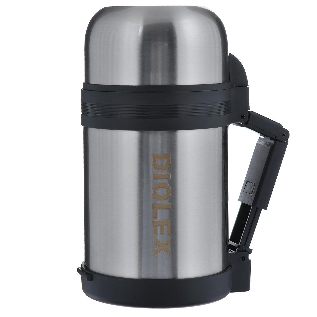 Термос Diolex, с откидной ручкой, 1 л. DXU-1000-1115510Термос Diolex изготовлен из высококачественной нержавеющей стали. Он имеет небьющуюся двойную внутреннюю колбу и изолированную крышку. Пластиковая эргономичная откидная ручка и ремешок для переноски, делает использование термоса легким и удобным.Термос сохраняет напитки и продукты горячими в течение 12 часов, а холодными в течение 24 часов. Легкий и прочный термос Diolex идеально подойдет для транспортировки и путешествий. Высота термоса (с учетом крышки): 23 см. Диаметр основания: 10 см. Объем термоса: 1 л. Материал: нержавеющая сталь, пластик.