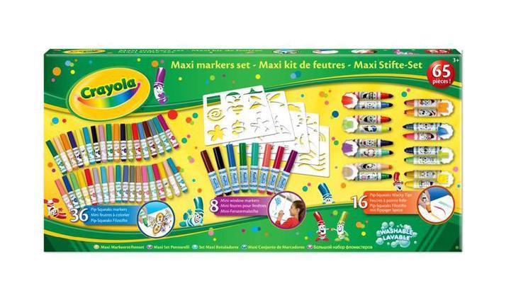 Гигантский набор фломастеров Crayola72523WDФломастеры из гигантский набора Crayola, предназначенные для рисования и раскрашивания, помогут вашему малышу создать неповторимые яркие картинки. Комплект включает в себя 16 мини-фломастеров с фигурными наконечниками (каждый тип наконечника представлен в двух цветах), 8 мини-фломастеров для рисования на стекле (легко смываются водой), 36 мини-фломастеров с коническими наконечниками, позволяющие рисовать как тонкие, так и толстые линии (легко отстирываются и смываются с твердых поверхностей) и 5 листов с различными трафаретами. Каждый фломастер оснащен плотным вентилируемым колпачком, надежно защищающим чернила от испарения. С таким набором ребенок сможет раскрыть весь свой творческий потенциал и создать удивительные картинки. Порадуйте его таким замечательным подарком!