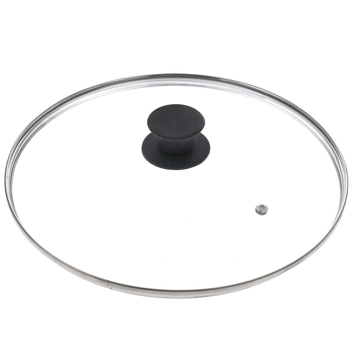 Крышка стеклянная Jarko Silk, цвет: черный. Диаметр 28 см115510Крышка Jarko Silk, изготовленная из термостойкого стекла, позволяет контролировать процесс приготовления пищи без потери тепла. Ободок из нержавеющей стали предотвращает сколы на стекле. Крышка оснащена отверстием для паровыпуска. Эргономичная силиконовая ручка не скользит в руках и не нагревается в процессе приготовления пищи.