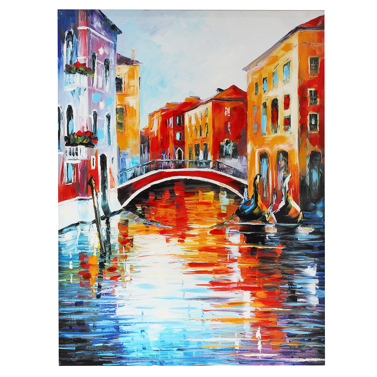 Картина-репродукция на холсте Венеция, без рамки, 80 х 60 см 3601397678Картина-репродукция Венеция, выполненная на деревянном подрамнике и холсте масляной печатью с ручной подрисовкой, дополнит интерьер любого помещения, а также может стать изысканным подарком для ваших друзей и близких. На картине изображен венецианский канал с гондолами. Благодаря оригинальному дизайну картина может использоваться для оформления любых интерьеров: гостиной, спальни, кухни, прихожей, детской или офиса. Изделие оснащено отверстием для подвешивания на стену. Такая картина - вдохновляющее декоративное решение, привносящее в интерьер нотки творчества и изысканности!