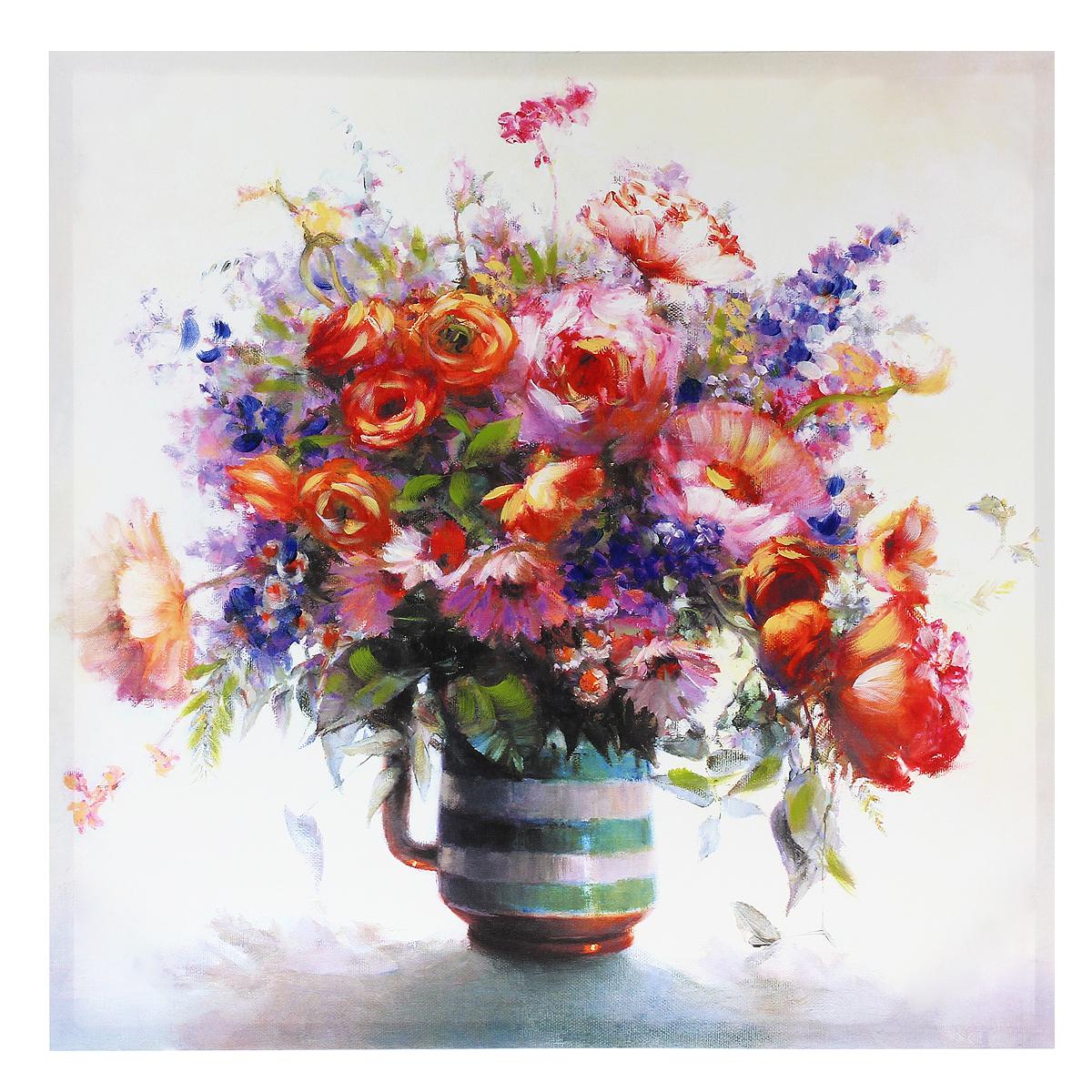 Картина-репродукция на холсте Цветы, без рамки, 60 см х 60 см. 36024AG 40-10Картина-репродукция Цветы, выполненная на деревянном подрамнике и холсте масляной печатью с ручной подрисовкой, дополнит интерьер любого помещения, а также может стать изысканным подарком для ваших друзей и близких. На картине изображен букет цветов в вазе. Благодаря оригинальному дизайну картина может использоваться для оформления любых интерьеров: гостиной, спальни, кухни, прихожей, детской или офиса. Изделие оснащено отверстием для подвешивания на стену. Такая картина - вдохновляющее декоративное решение, привносящее в интерьер нотки творчества и изысканности!