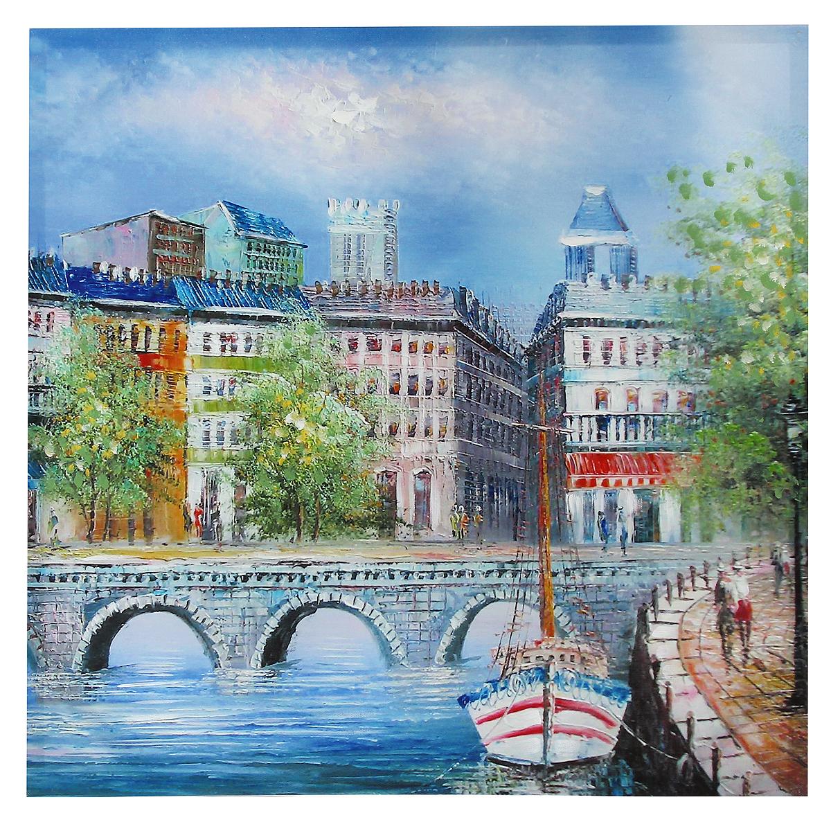 Картина-репродукция на холсте Мост, без рамки, 60 см х 60 см. 3602131x40 OZ095-504011Картина-репродукция Мост, выполненная на деревянном подрамнике и холсте масляной печатью с ручной подрисовкой, дополнит интерьер любого помещения, а также может стать изысканным подарком для ваших друзей и близких. На картине изображен мост через реку. Благодаря оригинальному дизайну картина может использоваться для оформления любых интерьеров: гостиной, спальни, кухни, прихожей, детской или офиса. Изделие оснащено отверстием для подвешивания на стену. Такая картина - вдохновляющее декоративное решение, привносящее в интерьер нотки творчества и изысканности!