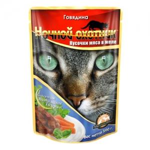 Консервы для взрослых кошек Ночной охотник, с говядиной в желе, 100 г ночной охотник консервы пауч с говядиной в соусе для котят 100 г