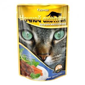 Консервы для взрослых кошек Ночной охотник, с курицей в желе, 100 г0120710Консервы для взрослых кошек Ночной охотник с курицей в желе изготовлены из натурального мяса, не содержат сои, консервантов и ГМО продуктов. В состав входят питательные вещества, белки, минеральные вещества, витамины, таурин и другие компоненты, необходимые кошке для ежедневного сбалансированного питания. Состав: мясо курицы не менее 10%, субпродукты животного происхождения, злаки, растительное масло, минеральные вещества, таурин, витамины А, D3, E. Пищевая ценность в 100 г: сырой белок - 8%, сырой жир - 3,5%, сырая клетчатка - 0,4%, кальций - 0,25%, фосфор - 0,3%, сырая зола - 2%, влажность 80%.Вес: 100 г . Энергетическая ценность: 80 ккал. Товар сертифицирован.
