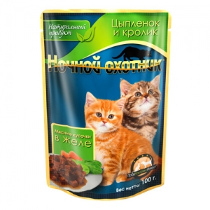 Консервы Ночной охотник для котят, с цыпленком и кроликом в желе, 100 г ночной охотник консервы пауч с говядиной в соусе для котят 100 г