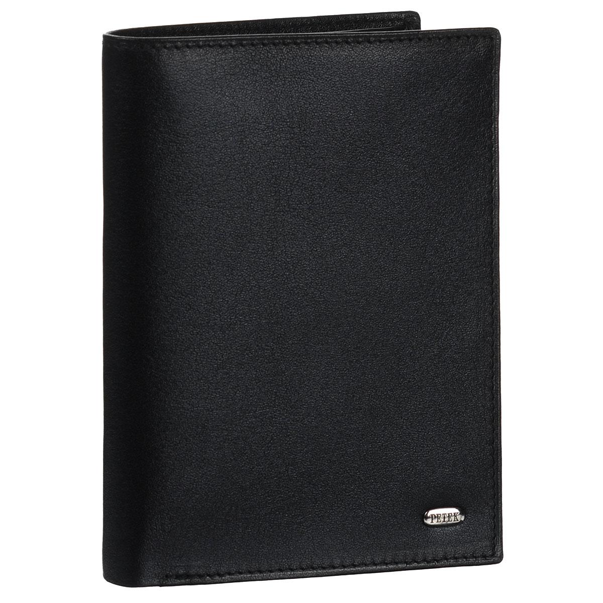 Обложка для паспорта и портмоне Petek, цвет: черный. 597.000.01BM8434-58AEОбложка для паспорта и портмоне не только поможет сохранить внешний вид ваших документов и защитить их от повреждений, но и станет стильным аксессуаром, идеально подходящим вашему образу. Обложка выполнена из натуральной кожи. На внутреннем развороте имеются два отделения для купюр, два кармана с сетчатыми вставками, пять кармашков для пластиковых карт, один вертикальный карман и два дополнительных кармашка для бумаг. Упакована обложка в фирменную картонную коробку. Такая обложка станет замечательным подарком человеку, ценящему качественные и практичные вещи.