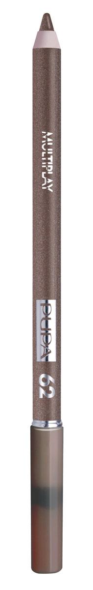 PUPA Карандаш для век с аппликатором Multiplay Eye Pencil тон№62 золотой коричневый, 1.2 г5010777139655Контурный карандаш для глаз Multiplay тройного действия с аппликатором для растушёвки подчёркивает взгляд с помощью интенсивного и однородного цвета, которой обладает безупречной стойкостью. Мягкая и очень пластичная текстура обеспечивает лёгкое и быстрое нанесение.